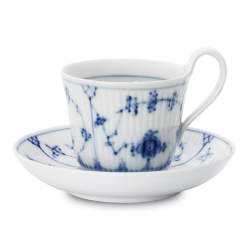 Blue Fluted Plain Teacup and saucer, 240ml