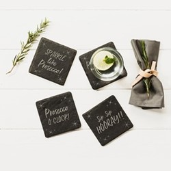 Engraved - Prosecco Set of 4 coasters, 11 x 11cm