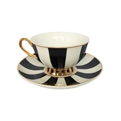 Stripy Set of 4 teacups and saucers, H6x Dia15cm, black/white