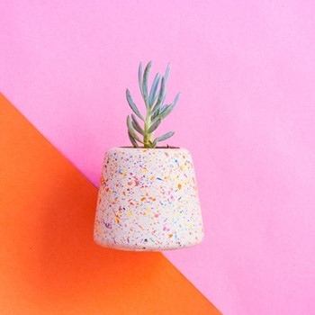 Sprinkles Large Concrete Planter or Tea Light Holder Planter, L95 x W10 x H9cm, multi-colour