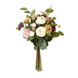 Faux Roses, Ranunculus, Apple Leaf & Hops Bunch, H40cm, Multi