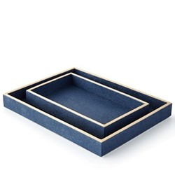 Manchester Pair of trays, navy faux shagreen