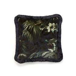Limerence Medium fringed velvet cushion, 45 x 45cm, ink