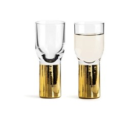 Club Gold Pair of shot glasses, 4cl, clear