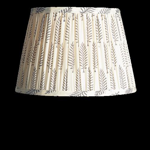 Straight Empire Block printed lampshade, 50cm, Grey Ferns Cotton