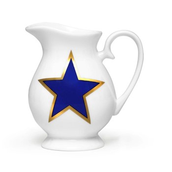 Lucky Stars Cream jug, H10 x W10cm, crisp white & cobalt blue/burnished gold details