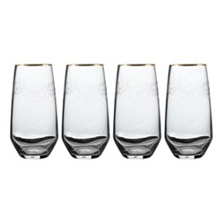 Henry Cole Set of 4 highball glasses, H15 x W16 x L16cm, metallic grey