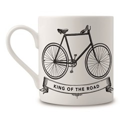 King Of The Road Mug, H9 x Dia 8cm, black/white