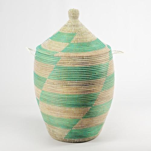 Alibaba Laundry basket, 80 x 43cm, natural/mint