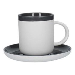 Barcelona Espresso cup and saucer, 130ml, cool grey