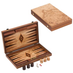 Backgammon set, 60 x 47.5 x 3.75cm open, Olive Burl