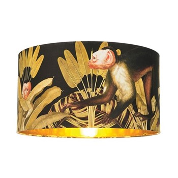 Monkey Large drum lampshade with metallic gold lining, H30 x L55 x W55cm, multi
