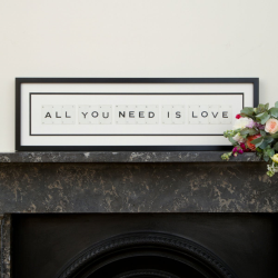 ALL YOU NEED IS LOVE Large frame, 76 x 20cm