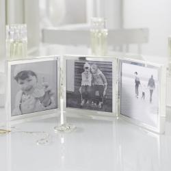 "Triple Aperture Hinged photograph frame, 3 x 3"", fine silver"