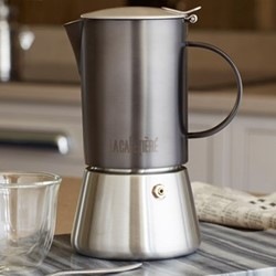 Edited 4 cup stovetop coffee maker, H21 x W19 x L19cm - 200ml, gun metal