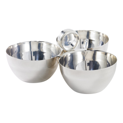 Montgomery 3 section nut bowl, 10.2 x 5.1cm, silver plate