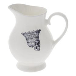 Skull in Crown Cream jug, H10 x W10cm, crisp white