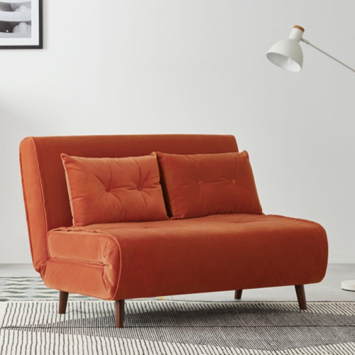 Haru Small sofa bed, H78 x W77 x D86cm, Flame Orange Velvet