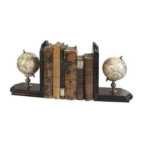 Globe Bookends, H25 x W13 x L36cm, Honey Distressed Wood