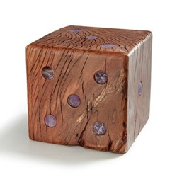 Afora Dice bookends, Amethyst/Wood