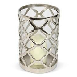Regency Large lattice hurricane, H23 x D16cm, aluminium/glass