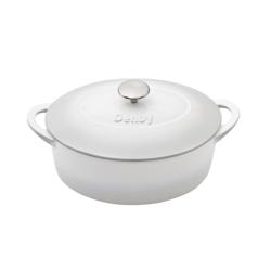 Natural Cast Iron Oval casserole dish, 28cm, Light Grey
