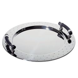 Michael Graves Round tray, 48cm, stainless steel with black handles