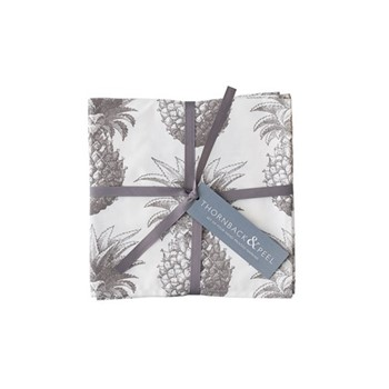 Pineapple Set of 4 napkins, 45 x 45cm, white/grey
