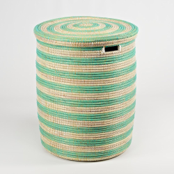 African Laundry basket with flat lid, 38 x 33cm, Natural/Mint Stripes
