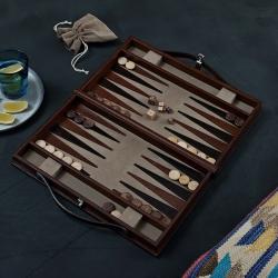 Backgammon set, W23 x D39cm, Tan Leather