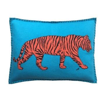 Tiger Cushion, 48 x 35cm, blue