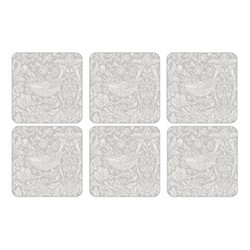 Pure Morris - Strawberry Thief Set of 6 square coasters, 10.5cm, grey/white