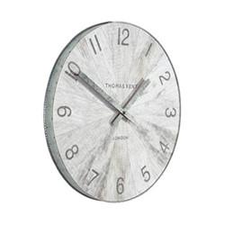 Wharf Pickled Oak Small wall clock, 38cm, grey with metal rim