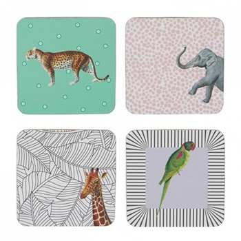 Animal Set of 4 coasters, H9 x W9cm