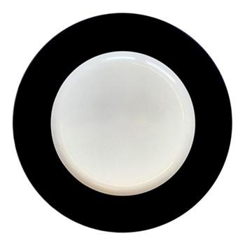 Plain Black - Gold Charger plate, 33cm, black & white/gold