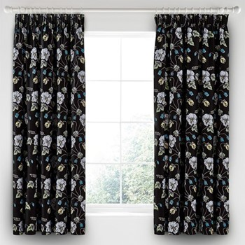 Gardenia Curtains, L183 x W168cm, black