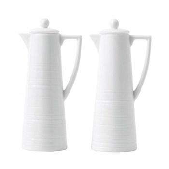 Jasper Conran - Strata Oil and vinegar set, H15.8 x W5.6 x D7.5cm, white
