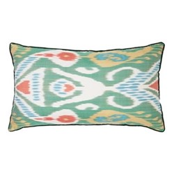 Ikat Cushion, 60 x 40cm, Green/Orange