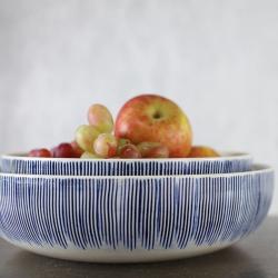 Karuma Serving bowl, D26cm, Blue And White