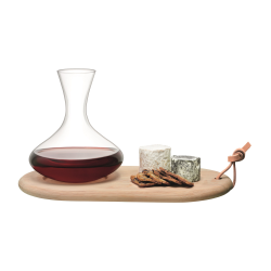 Wine Carafe and cheese board set, 1.4 litre, oak and glass
