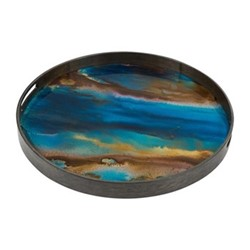 Organic glass tray, D48cm, indigo