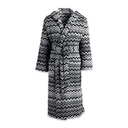 Keith Hooded bathrobe, medium, black/white