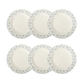Helice Chalk Set of 6 side plates, W22 x H2cm, chalk/white