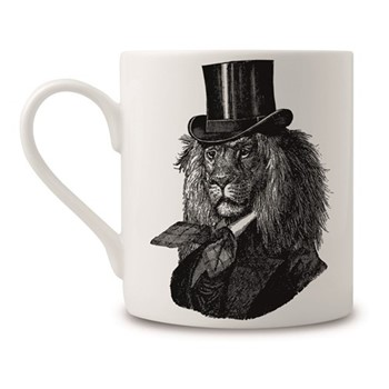 Dandy Lion Mug, H9 x Dia 8cm, black/white