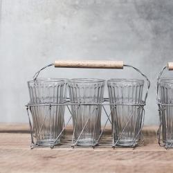 Agar Large glass set, L20 x W25 x H17cm, Clear Glass/Distressed Grey
