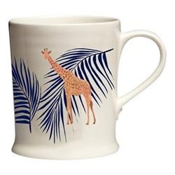 Giraffe & Palm Mug, 12 x 9.5 x 8.5cm, navy