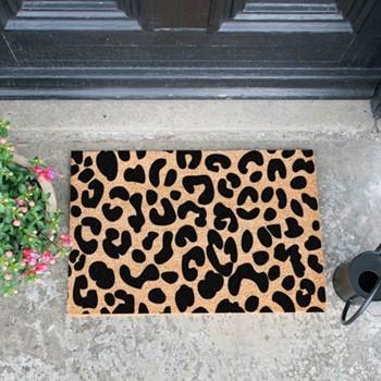 Leopard Print Doormat , L60 x W40 x D1.5cm, natural/black