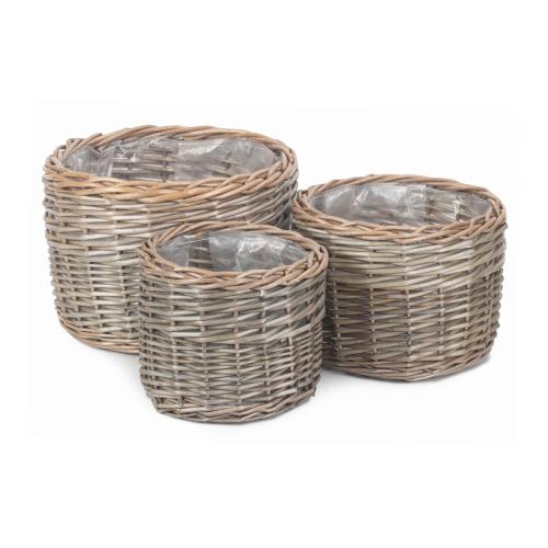 Round Set of 3 planters, antique wash