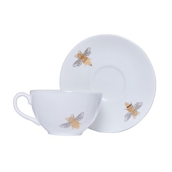 Bee Teacup and saucer, 150ml, white