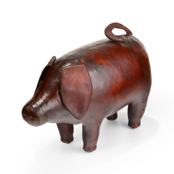 Pig Animal footstool, L580 x W210 x H335mm, Cowhide Leather